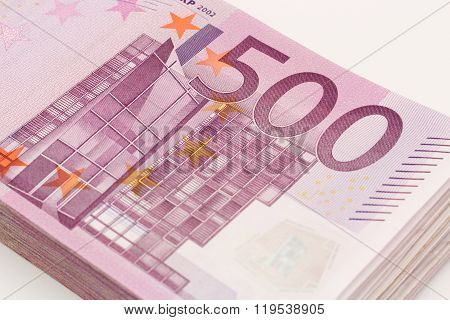 Money - Isolated Stack Of Five Hundred (500) Euro Bills Banknotes With White Background