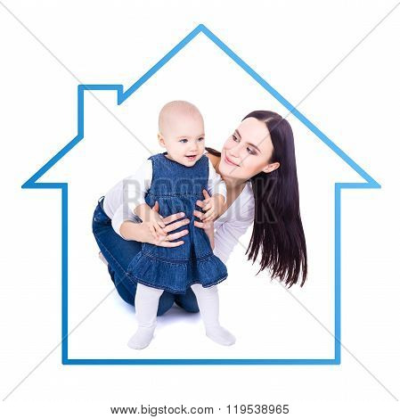 Home Concept - Happy Young Mother Playing With Baby Girl Isolated On White