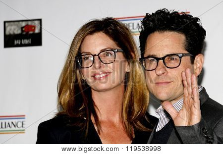 J.J. Abrams and Katie McGrath at the 2016 Oscar Wilde Awards held at the Bad Robot in Santa Monica, USA on February 25, 2016.