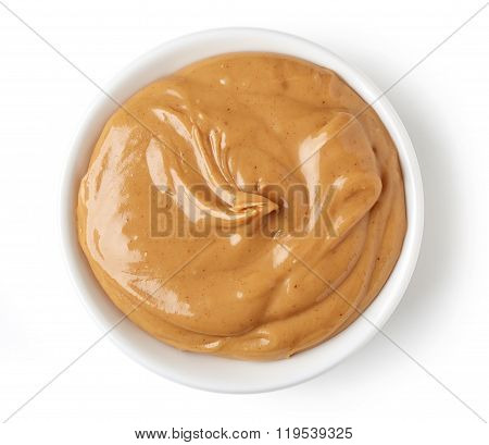 Peanut Butter In Round Dish Isolated On White Background