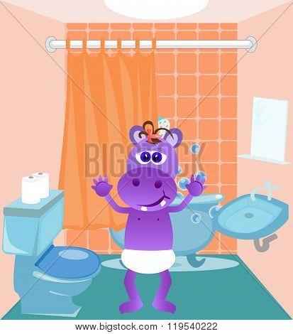Baby Hippo In Bathroom