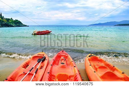 canoe at Stoupa beach in Peloponnese Greece