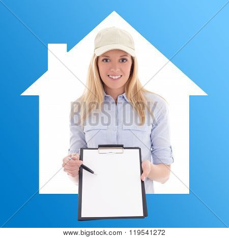 Post Delivery Service Woman With Blank Clipboard