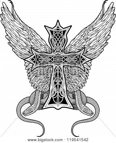 cross in celtic style with big wings and two snakes