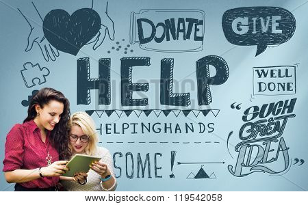 Give Help Donate Charity Aid Concept
