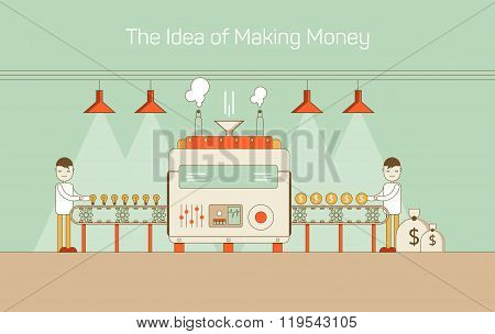 Vector flat thin line illustration of conveyor with machine mechanism converting ideas into money. H