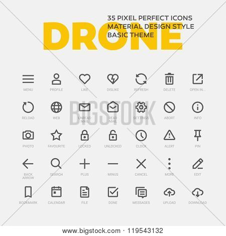 Vector set of 35 simple line icons.