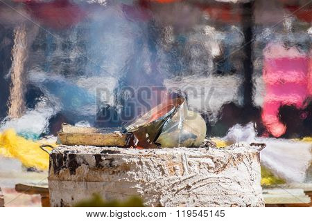 The Molten Metal For Casting Of Buddha Statue