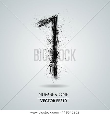 Vector grunge number - one