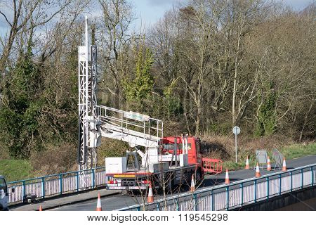 Ennis, Ireland - Feb 25, 2016: Bridge repair motorway maintenance