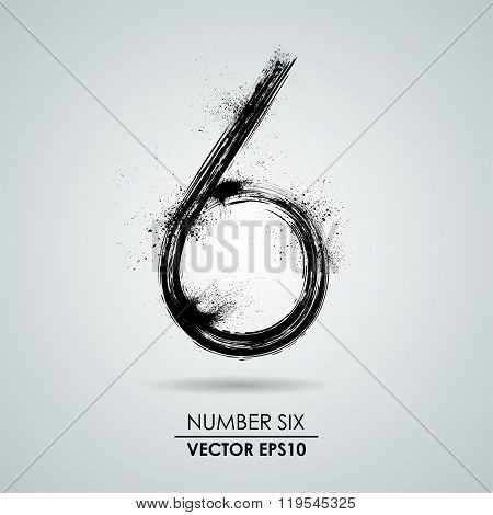 Vector grunge number - six