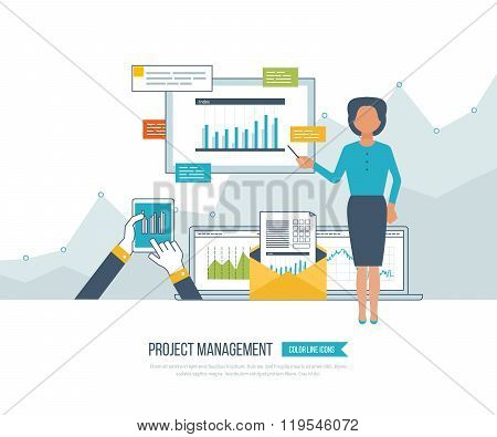 Concept for project management, investment,  finance, financial report, education.
