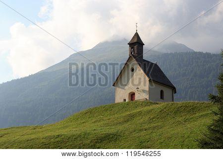 Holy Spirit Chapel In Alpine Village Bichl With Mountain, Austria