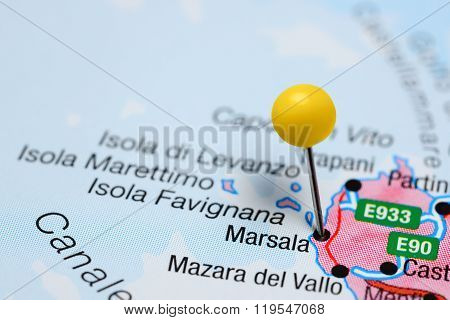 Marsala pinned on a map of Italy