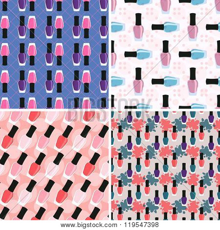Nail Lacquer Or Nail Polish Seamless Patterns Set 2