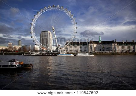 LONDON -February 5: London Eye along River Thames, on February 5, 2016 in London. The largest Ferris wheel in Europe, structure of the London Eye is 135 M. tall and the wheel has a diameter of 120 M.
