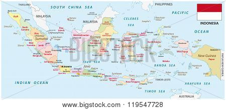 Indonesia Administrative Map With Flag