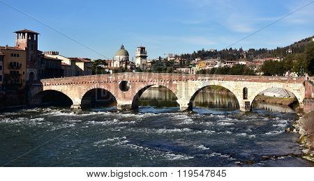 Beautiful Ponte Pietra (stone Bridge) Over Adige River In Verona