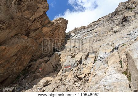 Steel Cable From A Via Ferrata In A Mountain Rock Face, Hohe Tauern Alps, Austria