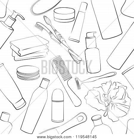 Seamless pattern with hand drawn collection of products for body care