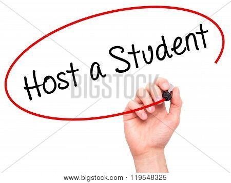 Man Hand Writing Host A Student With Black Marker On Visual Screen.