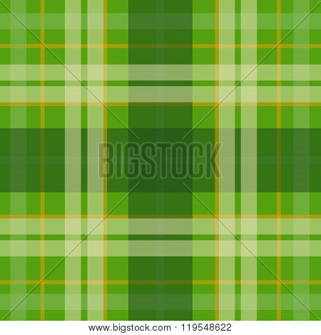 Vector seamless scottish tartan pattern in green orange beige. British or irish celtic design for te