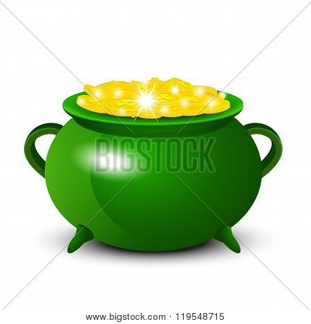 Patrick Day background with cauldron of gold coins