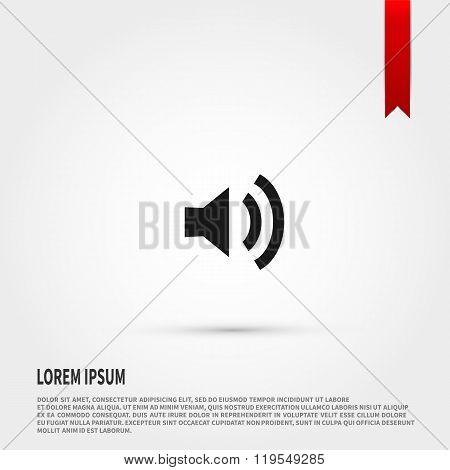 Speaker volume icon. Flat design style. T