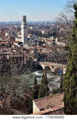 Verona Old City Center Seen From San Pietro Hill