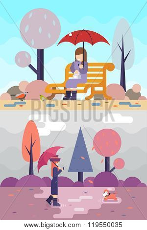 Happy girl sit bench watch birds dog puddles umbrella autumn spring nature park concept flat design