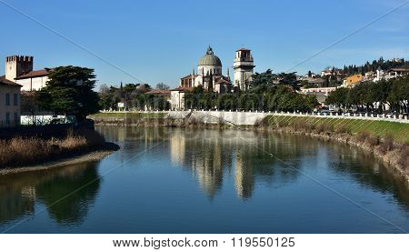 San Giorgio In Braida Reflected In Adige River