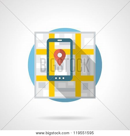 Mobile navigation detailed flat color vector icon