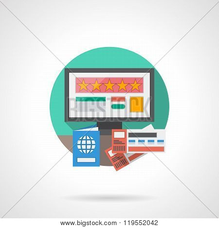 Online hotel detailed flat color vector icon