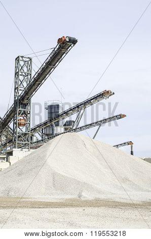 Several Belt Conveyors In Gravel Quarry