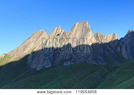 Alpine Hut Sajathutte And Mountain Rote Saule At Sunrise In Hohe Tauern Alps, Austria