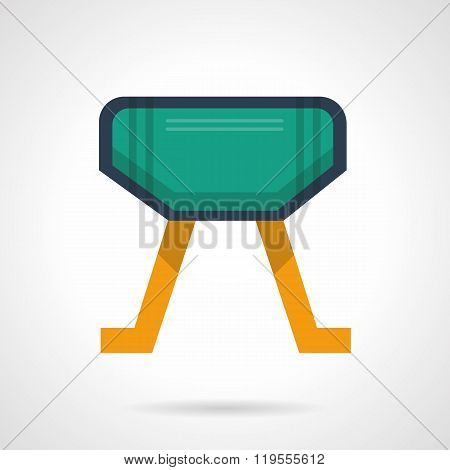 Vaulting horse flat color design vector icon