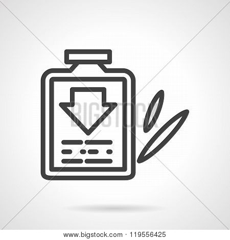Cough syrup black line design vector icon