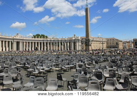 Parallel worlds St. Peter's Square in Vatican City.