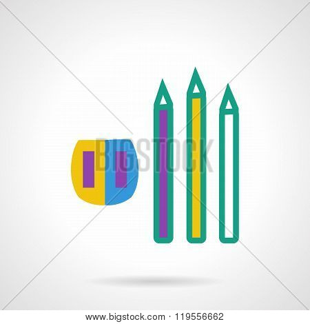 Color pencils and sharpener flat vector icon