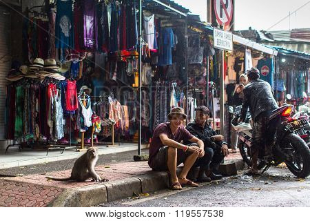 UBUD, INDONESIA - FEB 25, 2016: One of the streets in Ubud centre - city is one of Bali's major arts and culture centres, it has developed a large tourism industry, has of about 30,000 population.