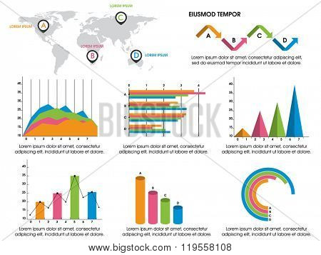 Colorful various Business Infographic elements including statistical graphs, charts, bar and world map for your professional presentations.