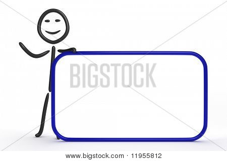 Stick figure with blank sign