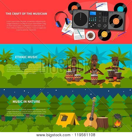 Ethnic Music Flat Horizontal Banners Set