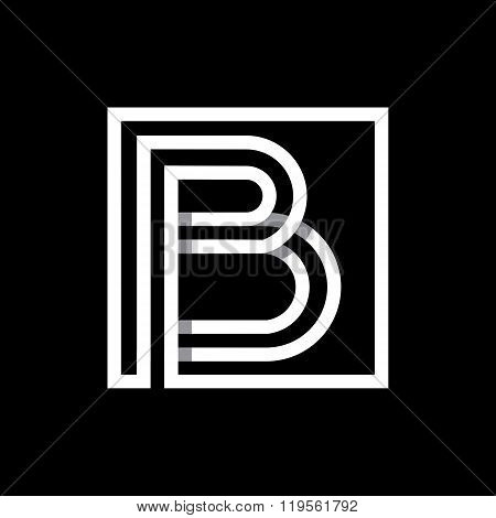 Capital letter B  . Overlapping with shadows monogram, logo, emblem.