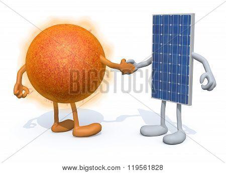 Sun And Solar Panel Shake Hands