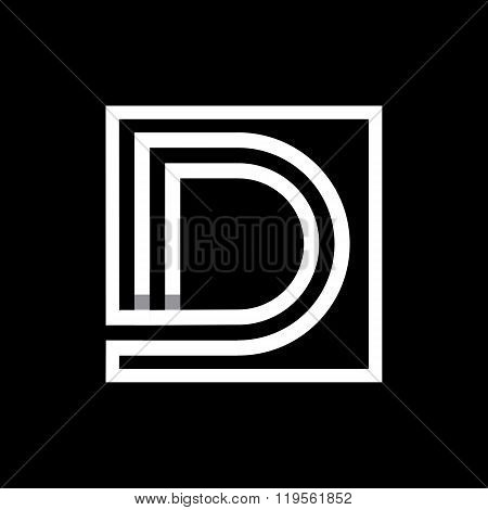 Capital letter D  . Overlapping with shadows monogram, logo, emblem.