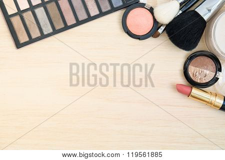 Women Cosmetic And Make Up On Wood Background