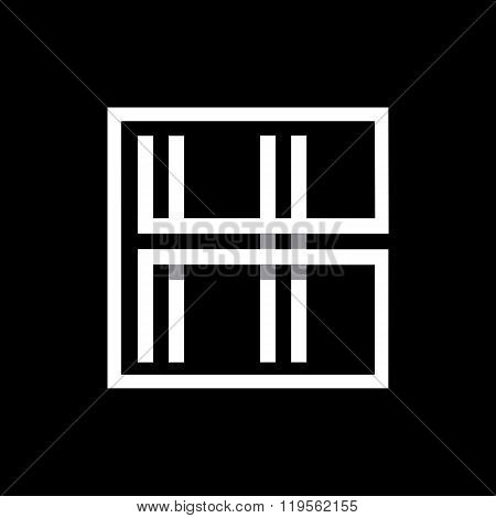 Capital letter H  . Overlapping with shadows monogram, logo, emblem.