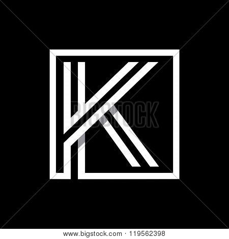 Capital letter K  . Overlapping with shadows monogram, logo, emblem.
