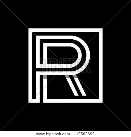 Capital letter R. Overlapping with shadows monogram, logo, emblem.